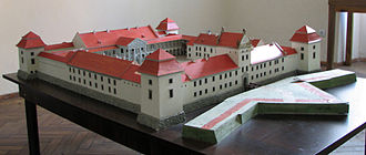 Zhovkva Castle - Miniature model of the castle's presumed original appearance