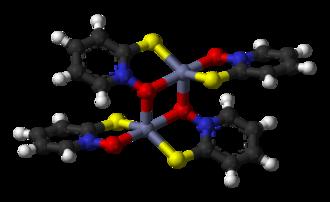 Pyrithione - Image: Zinc pyrithione dimer 3D balls