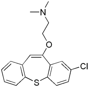 Thiepine - The chemical structure of the dibenzothiepine zotepine.