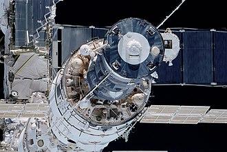 Zvezda (ISS module) - Progress docked to Zvezda (aft view)