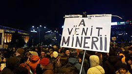 """A"" VENIT MINERII Placard during 2017 Victoria Square Protests.jpg"