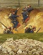 """""""Dans un ravin. Lignards (n°3)"""", fragment du panorama de La Bataille de Champigny.jpg"""