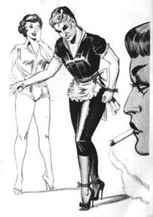 Gene Bilbrew - A forced feminization drawing from Women Bind and Dominate Male Maid by Bilbrew