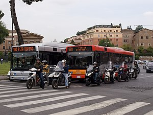 Transport in Rome - Buses, motorcycles, and automobiles are common in Rome.
