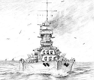 Italian battleship Vittorio Veneto - Illustration of Vittorio Veneto at sea
