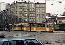 София 70 T8M-730 Bulgarian Tram (with travelling post box) Sofia Jan 1995 - Flickr - sludgegulper.jpg