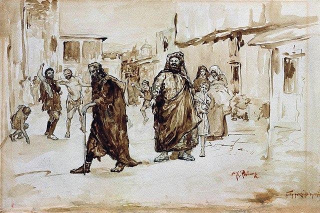 Люди высмеивают и побивают камнями проходящего по улице пророка (Около 1890. Иллюстрация к стихотворению М. Ю. Лермонтова)