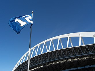 CenturyLink Field - The 12th Man flag and a portion of the roof's support truss
