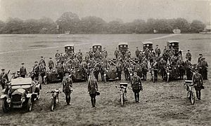 Motor Machine Gun Service - 14th Battery, MMGS, photographed at Belton Park, Lincolnshire, 1915