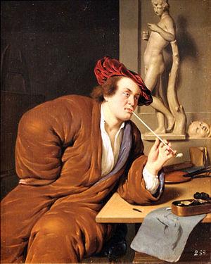 Jan van Mieris - Jan van Mieris, Portrait of an Artist, Smoking a Pipe, 1688, Kunsthalle Hamburg