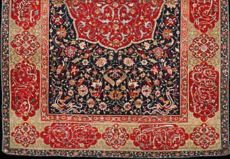 "Persian art - Half of a ""Salting carpet"", Safavid, in wool, silk and metal thread, about 1600"
