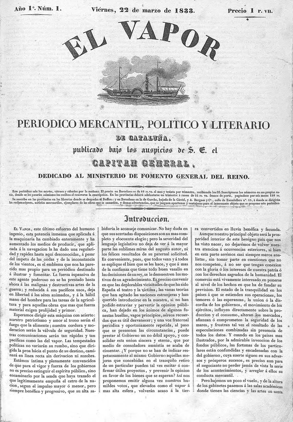 El Vapor (periódico) - Wikipedia, la enciclopedia libre
