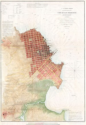 Montgomery Street - Image: 1853 U.S.C.S. Map of San Francisco, California ^ Vicinity Geographicus San Francisco 3 uscs 1853