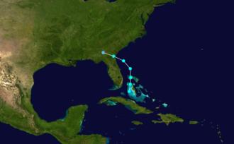 1873 Atlantic hurricane season - Image: 1873 Atlantic tropical storm 1 track