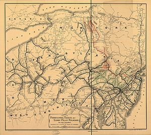 Lehigh Valley Railroad - 1884 map of the Pennsylvania, Reading and Lehigh Valley Railroads