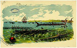 Auckland Anniversary Regatta - 1889 print of an Auckland Anniversary Regatta