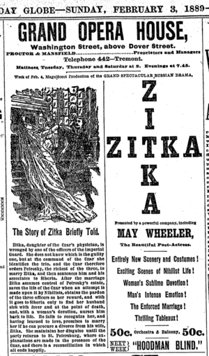 Grand Opera House (Boston) - Image: 1889 Zitka Grand Opera House Boston Massachusetts Boston Globe Feb 3