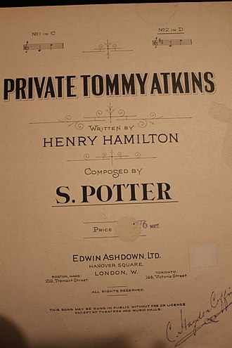 "Tommy Atkins - Front cover of sheet music, pub 1893, for song ""Private Tommy Atkins"" composed by Samuel Potter (1851–1934) and Henry Hamilton (c. 1854 – 1918). Signed by baritone C. Hayden Coffin."