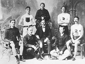 United States at the 1896 Summer Olympics - Several members of America's first Olympic team in 1896. Standing: T.E. Burke, Thomas P. Curtis, Ellery H. Clark. Seated: W.W. Hoyt, Sumner Paine, Trainer John Graham, John B. Paine, Arthur C. Blake