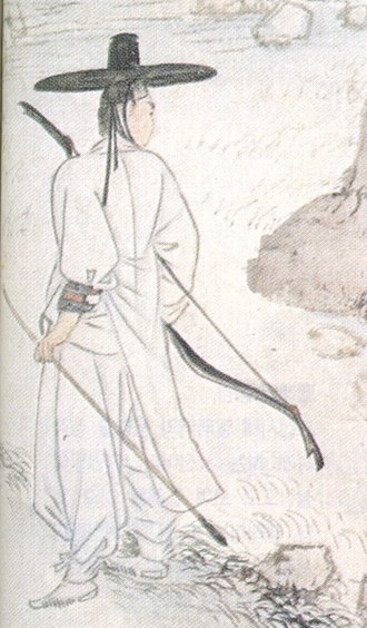 Yangban - A leisure class: a yangban takes a break while hunting.  Hyewon, early 19th century.