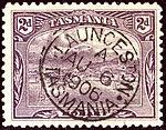 1906 2d wmrk A Tasmania Launceston Yv76 SG245ea.jpg