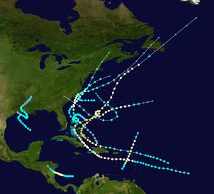 1908 Atlantic hurricane season - Image: 1908 Atlantic hurricane season summary map