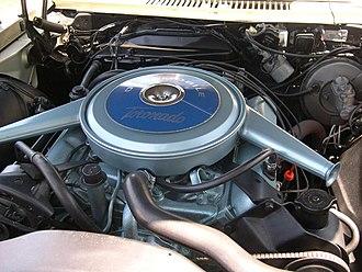 Oldsmobile V8 engine - The 1966 Toronado's 425 V8, the first post-war front-wheel drive V8 application.
