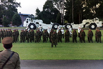 Photograph of the farewell parade for the main body of the Australian contingent