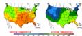 2002-09-30 Color Max-min Temperature Map NOAA.png