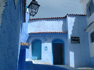 Chefchaouen - A typically blue-rinsed hamam in Chefchaouen