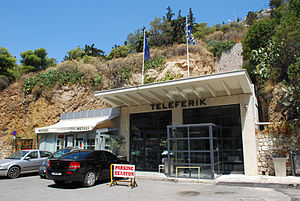 Lycabettus Funicular - The lower station from the street