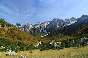 Geography of Albania - A autumn view of Valbonë Valley National Park within the Albanian Alps near the border with Montenegro.