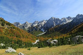 Tourism in Albania - Scenic autumn view of Valbonë Valley National Park.