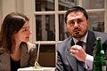 2014-03-14 Festival der Philosophie, Hannover, 35, (04d) Journalistin und Moderatorin Nadine Conti (Minden, Hildesheim) und Dr. Salvatore Principe (Università Frederico II, Napoli).jpg