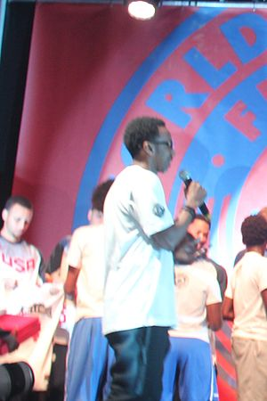 Scoop Jackson (writer) - Jackson with Team USA at the World Basketball Festival, 2014.