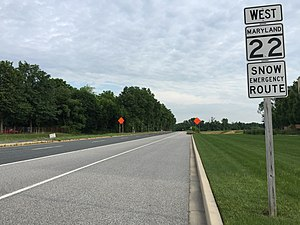 Maryland Route 22 - View west from the east end of MD 22 at Aberdeen Proving Ground