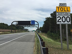 Maryland Route 200 - Toll gantry along eastbound MD 200 between US 29 and I-95