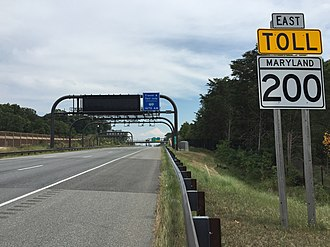 Maryland Route 200 - Toll gantry along eastbound MD 200 between US 29 and I-95 in Calverton
