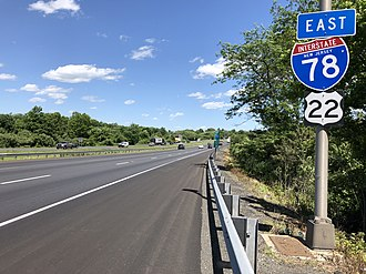 Union Township, Hunterdon County, New Jersey - I-78/US 22 eastbound in Union Township