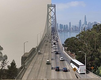 Camp Fire (2018) - The Bay Bridge in San Francisco, California. The photo on the left was taken November 16, 2018, and the one on the right October 14, 2018.