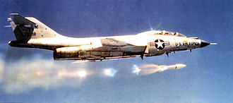 52nd Fighter Wing - 2d Fighter-Interceptor Squadron McDonnell F-101B-100-MC Voodoo Suffolk County Air Force Base, New York, 1965 firing an MB-1 Genie air-to-air missile.
