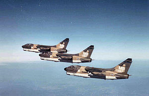 355th Fighter Squadron - In-flight formation of 3 LTV A-7Ds (S/N 70-0967, 70-0983 and 71-296) of the 355th Tactical Fighter Squadron, 354th Tactical Fighter Wing (Forward) deployed to Korat Royal Thai Air Force Base, Thailand in December 1972.