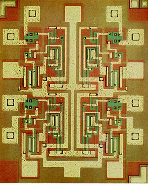 NAND gate - Silicon implementation of 4 NAND gates in an integrated circuit