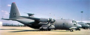 "Pope Field - ""Flying Tiger"" Lockheed C-130E-LM Hercules Serial 63-7846 of the 41st Airlift Squadron."