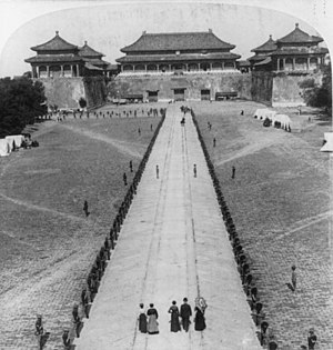 Edwin H. Conger - Conger and family in foreground, with 9th Infantry Regiment lined up before the Meridian Gate, Forbidden City, Beijing, circa 1901