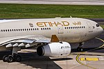 A6-EYF Etihad Airways Airbus A330-243 departing to Abu Dhabi (AUH OMAA) @ Dusseldorf - Rhein-Ruhr International (DUS EDDL) 21.07.2016 (39416603105).jpg