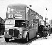 First pre-serial AEC Bridgemaster, registration YDH225, chassis number MB3RA001, bodywork by Crossley with H41/31R layout, entered into service with Walsall in Nov. 1956.[9][10]