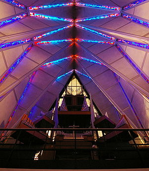 United States Air Force Academy Cadet Chapel - The organ at the back of the Protestant Chapel, and the ceiling