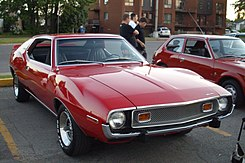 Shows front view of a 1973 Javelin with its new grille design (the AMX was different)