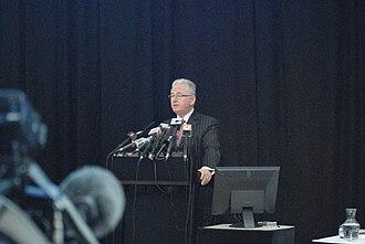 Michael Cullen (politician) - Cullen delivering the 2008 budget press conference.